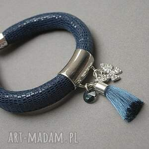niebieskie bransoletki skóra strap - petrol butterfly