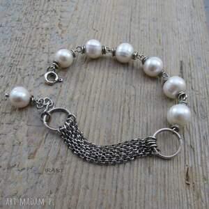 intrygujące srebro subtelna bransoletka z perły