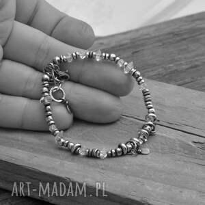 srebrne herkimer surowa z diamentami