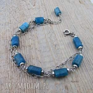 niebieskie surowe bryłki apatytu - bransoletka