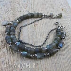 hand-made bransoletki srebro surowe talarki labradorytu -