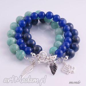 niebieskie bransoletki bransoletka szafirowa, z jadeitów