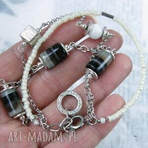 srebrne różnorodna szaro beżowa bransoletka z