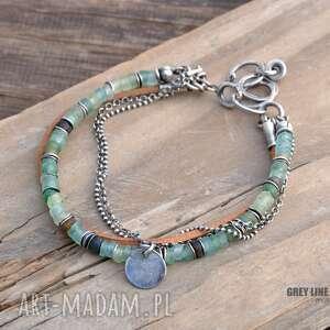 srebro bransoletki zielone szkło antyczne i rzemień