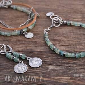 ręczne wykonanie bransoletki afgańskie szkło antyczne i rzemień