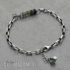 bransoletka srebrna szkło antyczne zielone i masywny