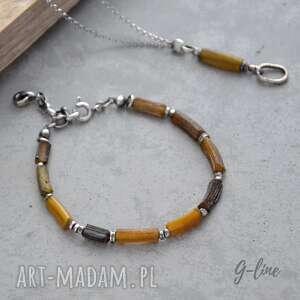 bransoletki szkło antyczne brązowo -żółte.