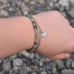 ręczne wykonanie bransoletki srebro szkło antyczne i rzemień