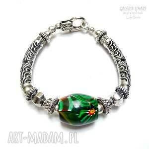 szkło bransoletki zielone murano w pięknej