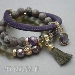 złote bransoletki jaspisy taupe and violet vol. 5