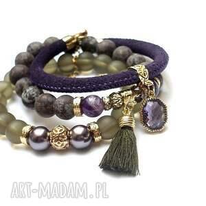 niepowtarzalne bransoletki jaspisy taupe and violet vol. 5
