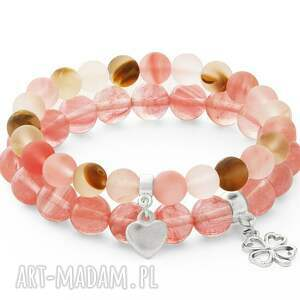 trendy bransoletki kwarc tiger quartz with little heart