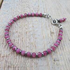 Turmalin różowy z przekładkami - bransoletka