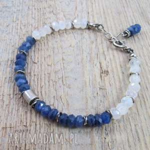 białe bransoletki księżycowy walec z kyanitem i kamieniem