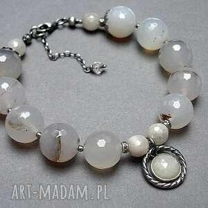 białe srebro oksydowane winter sapphire - bransoletka