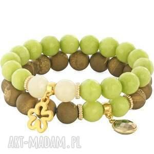 ręcznie robione bransoletki jadeit zarina 3 - old gold & green