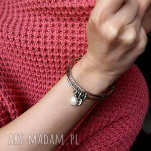 handmade bransoletki z-perłą zestaw 2 bransolet z zawieszkami