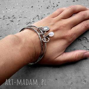 białe bransoletki kamień-księżycowy zestaw 2 bransolet- srebro, kamień