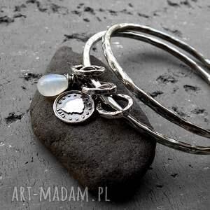 wyjątkowe bransoletki kamień-księżycowy zestaw 2 bransolet- srebro, kamień