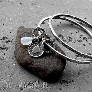 wyjątkowe bransoletki oksydowane-srebro zestaw 2 bransolet- srebro, kamień