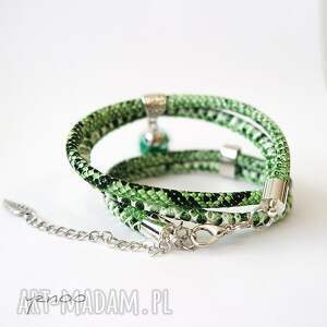 intrygujące bransoletka zielone piórko -