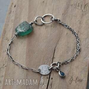 turkusowe bransoletki szkło-z-afganistanu zielone szkło antyczne z apatytem