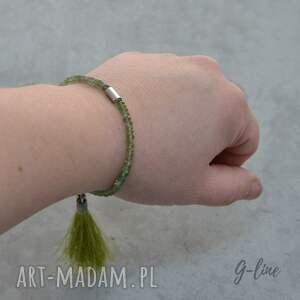 hand made bransoletki srebro zielony apatyt z chwostem