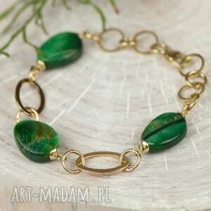 zielone bransoletki bransoletka-zielona złocista bransoletka z bawolim
