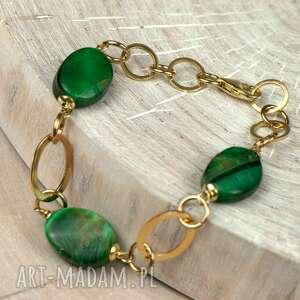 bransoletki bransoletka-zielona złocista bransoletka z bawolim