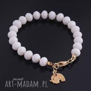 handmade bransoletki biała złoty słonik, bransoletka