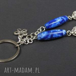 niebieskie breloki brelok 0129/mela do kluczy kamień