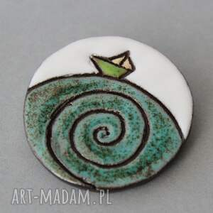 KOPALNIA CIEPLA broszki: Ahoj - broszka ceramika - imieniny minimalizm