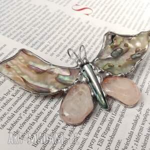 macica perłowa broszki kolorowe broszka i wisior (2 w 1): motyl