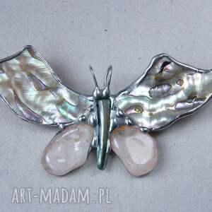 broszki macica-perłowa broszka i wisior (2 w 1): motyl