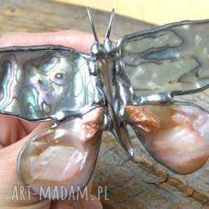 beżowe broszki motyl broszka i wisior (2 w 1):