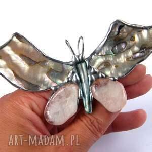 srebrne broszki muszla broszka i wisior (2 w 1): motyl