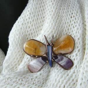 Witrazka Broszka i wisior (2 w 1): Motyl cytrynowo fioletowy - z kamieniami podwójna funkcja
