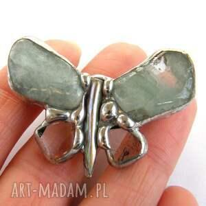hand-made broszki akwanaryn broszka: mały motyl z akwamarynem