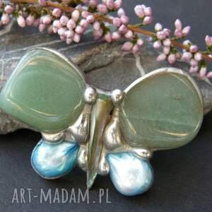 broszki kamienie naturalne broszka: mały motyl zielony to wykonana