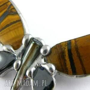 Witrazka broszki: - broszka motyl kamienie naturalne