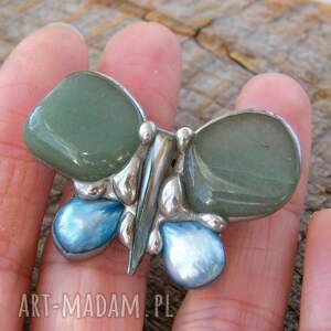broszka z-kamieni broszki zielone: mały motyl zielony