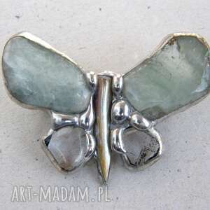 białe broszki motyl broszka: mały z akwamarynem