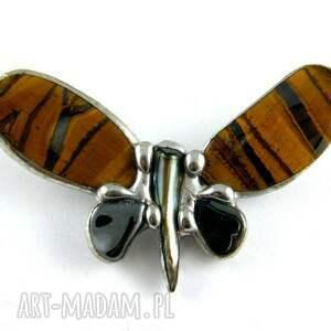 czarne broszki broszka z-kamieni: mały motyl tygrysi