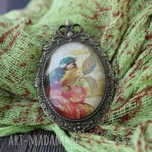 broszki 2w1 broszka - medalion ptak vintage