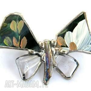białe broszki motyl broszka: malowany