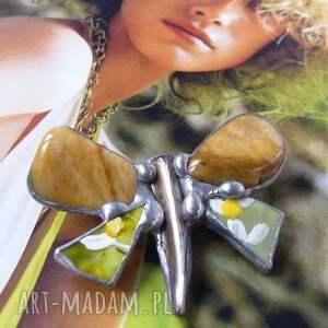 broszka jaspis broszki żółte: motyl malowany z jaspisem