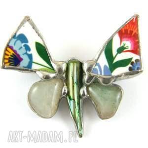 srebrne broszki biżuteria z-kamieni broszka: motyl folk z awenturynem