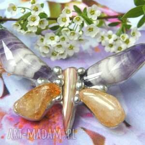 broszka-z-kamieni broszki fioletowe broszka motyl