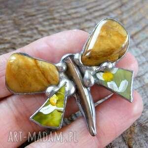 broszki broszka jaspis: motyl malowany z jaspisem