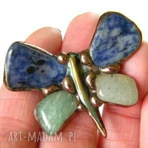 niebieskie broszki motyl broszka: granatowo-zielony
